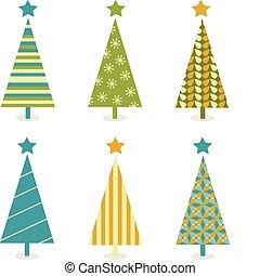 árbol, miedoso, diseño, retro, navidad