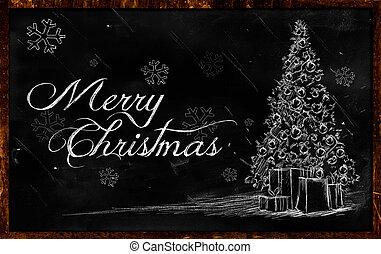 árbol, navidad, alegre, dibujo