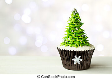 árbol, navidad, cupcake
