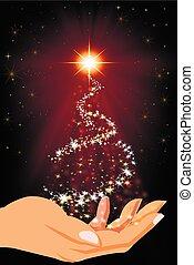árbol, navidad, manos