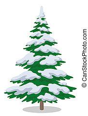 árbol, navidad, nieve