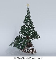 árbol, navidad, render, 3d