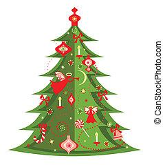 árbol, navidad, saludo