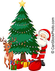 árbol, navidad, santa, luego