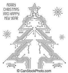 árbol, navidad, tablero de circuitos