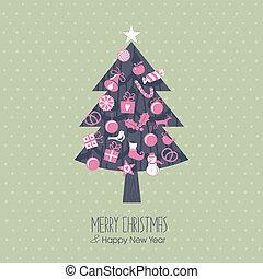 árbol, navidad, variado
