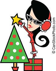 árbol, niña, arte, navidad, clip