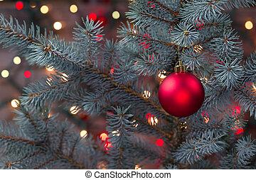 árbol, ornamento, solo, pino, luces, encendido, ahorcadura, rojo