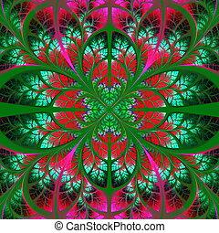 árbol, pattern., -, colección, verde, foliage., simétrico, ...