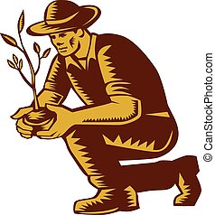 árbol que planta, granjero, woodcut, orgánico, linocut