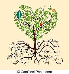 árbol., raíces, vector.
