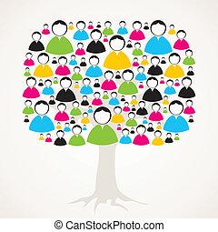 árbol, red, medial, social
