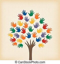 árbol, resumen, abierto, hojas, manos