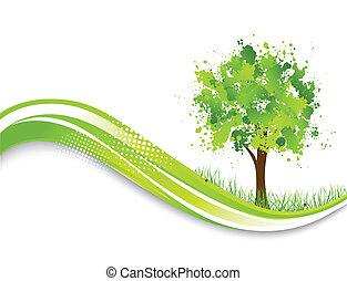 árbol, resumen, fondo verde
