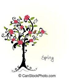 árbol, resumen, -, vector, flores, cereza