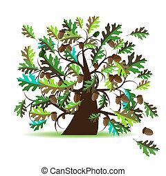 árbol, roble, verano