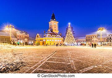 árbol, rumania vieja, navidad, brasov