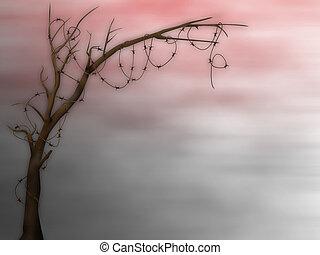 árbol, secado, muerto