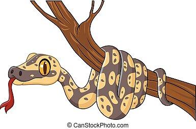 árbol, serpiente, rama, caricatura
