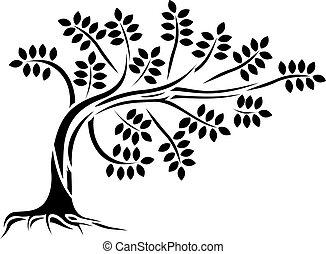 árbol, silueta, aislado