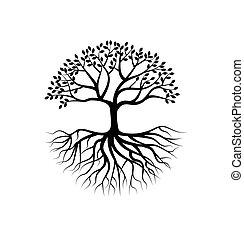 árbol, silueta, con, raíz