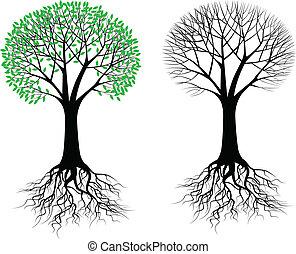 árbol, silueta