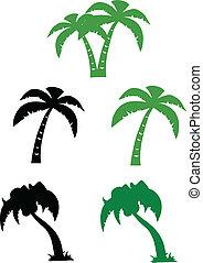 árbol, silueta, palma, colección