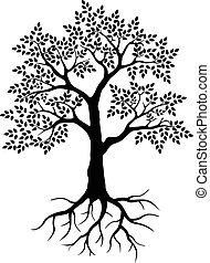 árbol, silueta, para usted, diseño