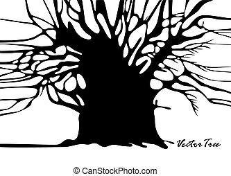 árbol, silueta, sin, hojas
