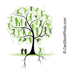 árbol, siluetas, parientes, familia , gente