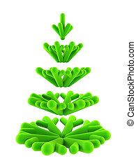 árbol, simbólico, abeto, 3d, año nuevo