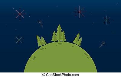 árbol spruce, colina, paisaje, noche