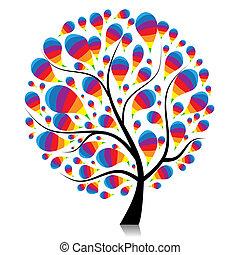 árbol, su, arte, diseño, hermoso