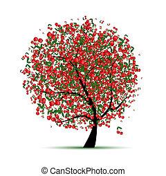 árbol, su, cereza, diseño, energía
