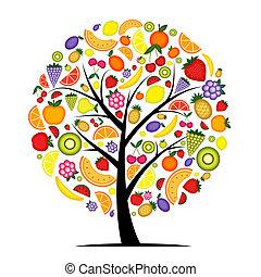 árbol, su, fruta, diseño, energía