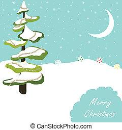 árbol, tarjeta de navidad, saludo