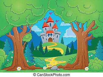 árbol, tema, con, castillo, 1