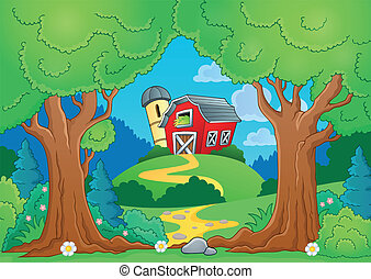 árbol, tema, con, granja, 1