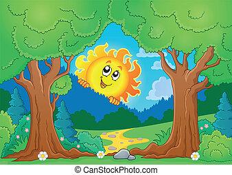 árbol, tema, con, sol 1