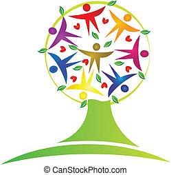 árbol, trabajo en equipo, logotipo