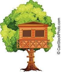 árbol, treehouse, uno