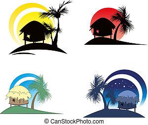 árbol tropical, palma, chozas