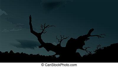árbol, vector, halloween, escalofriante, fondo.