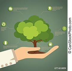 árbol., vector, illustration., llevar a cabo la mano