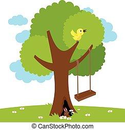 árbol., vector, ilustración, columpio