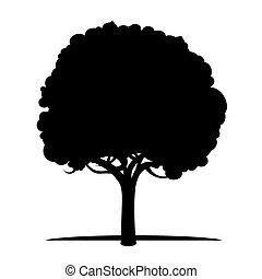 árbol., vector, negro, illustration.