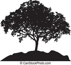 árbol, vector, silueta, colina