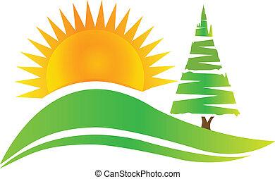 árbol verde, -hills, y, sol, logotipo