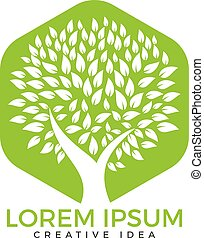 árbol verde, logotipo, design.