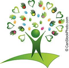 árbol, verde, manos, logotipo